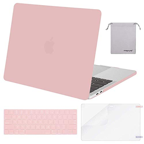 MOSISO MacBook Pro 15 Case 2018 2017 2016 Release A1990/A1707 Touch Bar Models, Plastic Hard Shell & Keyboard Cover & Screen Protector & Storage Bag Compatible Newest Mac Pro 15 Inch, Rose Quartz