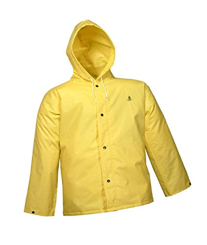 DURASCRIM J56107.MD Nylon/PVC Storm Fly Front Jacket with Attached Hood, Medium, Yellow ()