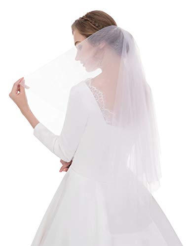 Sunny zeyu Women's Simple Tulle Bridal Veil Short Wedding Veil 2layers With comb ()