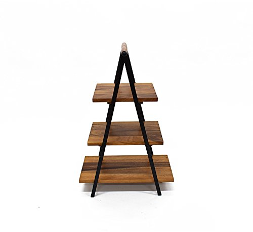 222 Fifth 5094BR913A1K97 Westmore 3 Tier Collapsible Server Stand, Wood