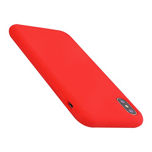 (iPhone X Case Liquid Silicone Gel Rubber Case,Full Body Protection Shockproof Cover Case with Soft Microfiber Cloth Lining Cushion for Apple iPhone X (Red))