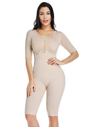 KIWI RATA Womens Seamless Panty Bodysuit Full Body Coverage Shaper Fajas Compression Garment Knee Length Nude M