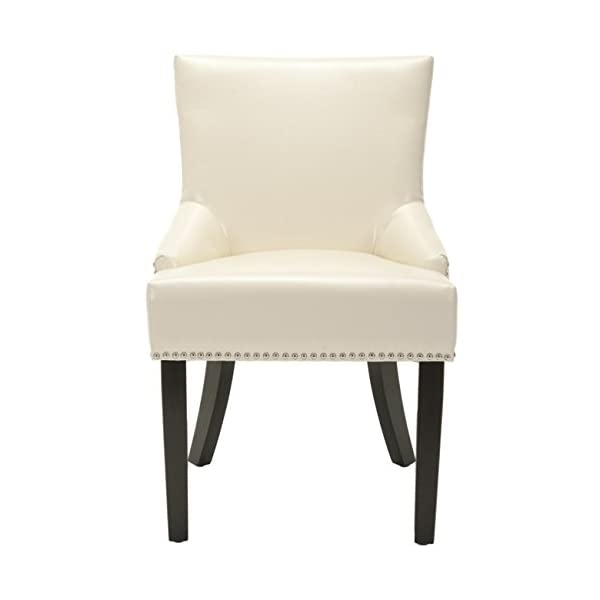 Safavieh Mercer Collection Christine Cream Leather Nailhead Dining Chair, Set of 2