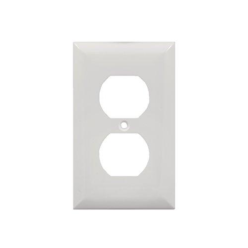 Jasco Wall Plate (Power Gear Duplex Receptacle Wallplate, White, Unbreakable Nylon, Screw Included, UL Listed, 58832)