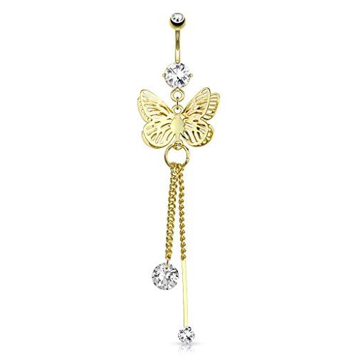 Butterfly Wings Overlapped CZ Attached to Chain String Dangle 4Kt Gold Plated Belly Button Ring ()