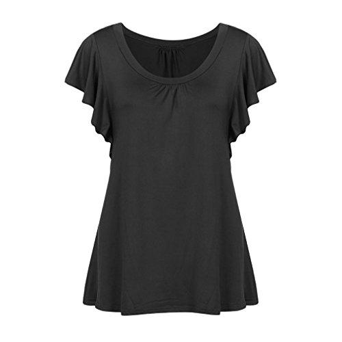 Tee Tunique Dame Taille Noir Grande Cou Manches T Courtes QinMM O Dbardeur Gilet Blouse Casual Femmes Pliss Volantes Mode Shirt Tops Chemises Slim Lache Shirt Flowy qBHH1wp