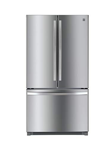 Stainless steel refrigerator with freezer on the bottom.