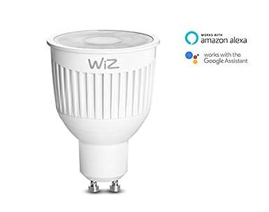 Bombilla LED WiZ inteligente con conexión WiFi, luz blanca, casquillo GU10. Regulable, 64.000 tonos de blanco. Funciona con Amazon Alexa y Google Home.
