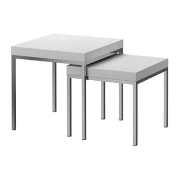 Ikea Klubbo Tables Gigognes 2 Pieces Blanc Amazon Fr