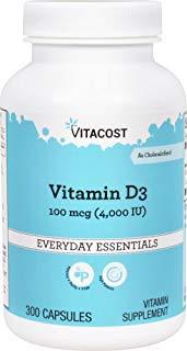 Vitacost Vitamin D3 (as Cholecalciferol) -- 4000 IU - 300 Capsules by Vitacost Brand
