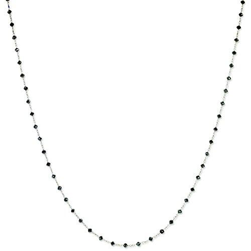 - 14k White Gold Black Diamond Briolette Pendant Necklace 20inch (11.85ct)