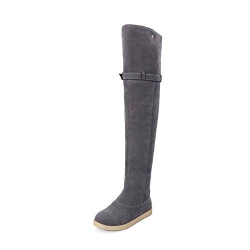 VogueZone009 Damen Ziehen auf Niedriger Absatz Blend-Materialien Oberschenkel Hohe Stiefel, Schwarz, 42