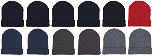 12 Pack Winter Beanies, Kids, Warm Cold Weather Hats Cap Boys Girls Children ()