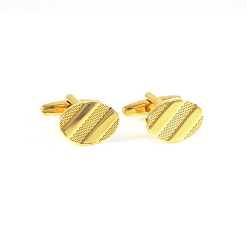(MENDEPOT Gold Plated Classic Oval Stripes Cufflink with Box)