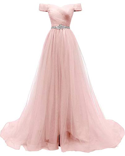 Women's A-line Tulle Prom Dresses Off The Shoulder Formal Evening Ball Gown (Blush 26w)