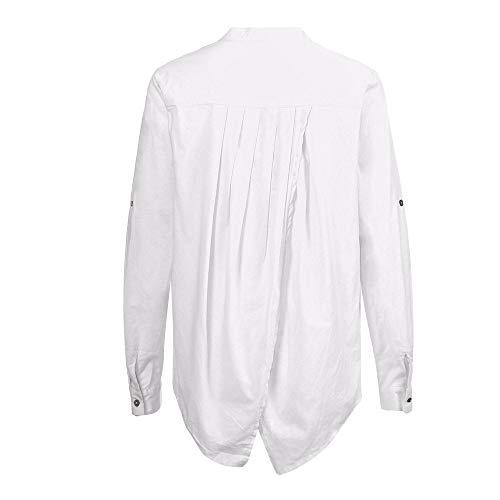 Hauts Manches Lin en Manches Rawdah Coton Chemise Coton pour Chemisier Blanc Femme Femmes Et Longues Solide Chemise Longues Boutons Boutonne Casual Pliss zA5ZxO