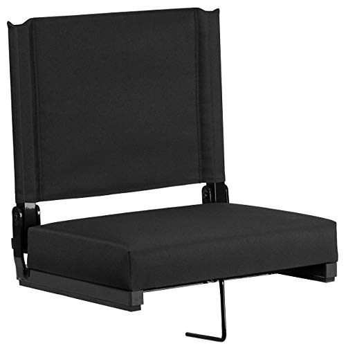 Flash Furniture Game Day Seats Stadium Chair by Flash with Ultra-Padded Seat, Black (Renewed)