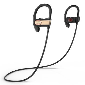 SinoPro S7 Bluetooth 4.1 Headphone Wireless Stereo Earbuds Sweatproof Sport Running Headset with Noise Reduction Built-in Mic for iPhone, iPad, Samsung and Other Android Smartphones (Gold)