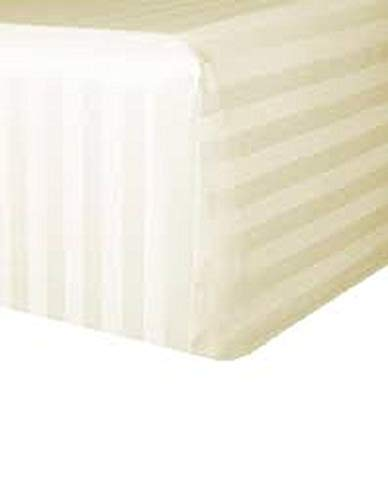 Eyelet Home Decor Stripe Pattern Hospitality Grade Ultra Comfort 800 Thread Count Egyptian Cotton Sateen 1 Piece Fitted(Bottom Sheet Only) with 15 Inch Deep Pocket Fitted Sheet Queen Size Ivory