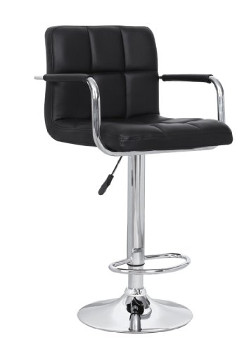 Christies Home Living Contemporary Adjustable Swivel Arm Bar Stool with Cushion, Black