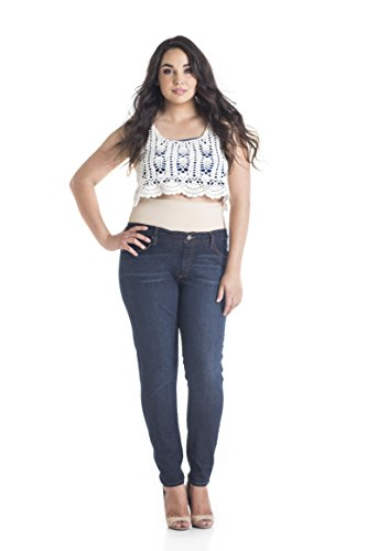 Tummy Trimmer Denim Women's Plus-Size Skinny Shapewear Jeans, Dark Wash, 18W by Tummy Trimmer Denim