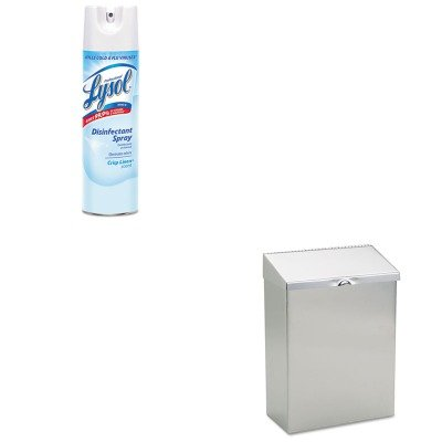 Convertible Napkin Receptacle (KITHOSND1ERAC74828CT - Value Kit - Hospeco ND-1E Wall Mount Convertible Sanitary Napkin Receptacle, 8wx4dx11h, Stainless Steel (HOSND1E) and Professional LYSOL Brand Disinfectant Spray (RAC74828CT))