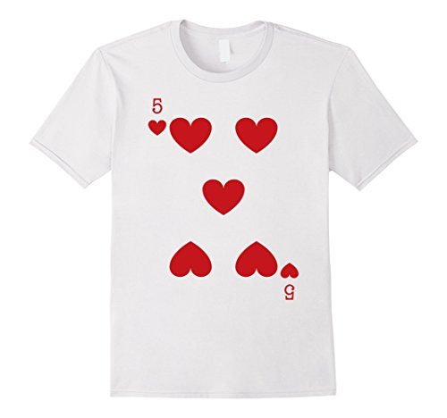 [Mens Five Heart Playing Card Genius Last minute Halloween Costume Medium White] (Halloween Costumes Last Minute Adults)