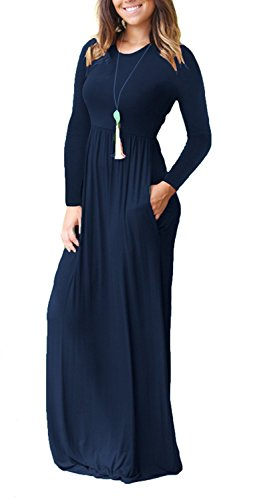 Sleeve Loose Long Blue Long HIYIYEZI Women's Casual Dresses Sleeves Navy Plain 01 Short Pockets Maxi with Dresses UqqpxE