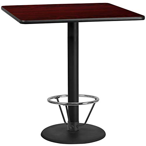 MFO 42'' Square Mahogany Laminate Table Top with 24'' Round Bar Height Table Base and Foot Ring