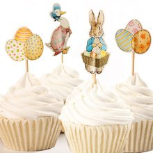 Easter Themed Cupcake Toppers Picks Peter Rabbit, Mother Goose, Easter Eggs, Spring Party Supplies Pack of 24