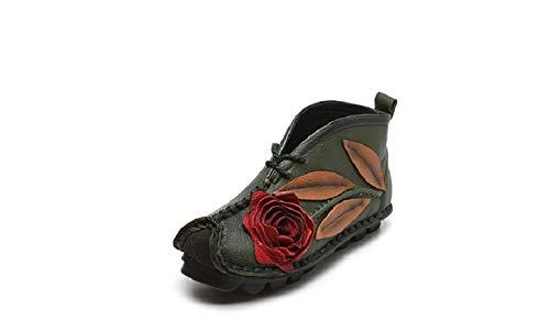 Stitching donne EU Comodi ZHRUI fiore rosa Verde Dimensione per Verde Flat Colore Scarpe le stivaletti vintage a 40 nxSSwU0q1