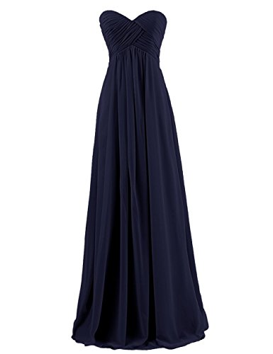 Autoalive Women's Simple Sweetheart Bridesmaid Chiffon Prom Dresses Long Evening Gowns (16, Navy)