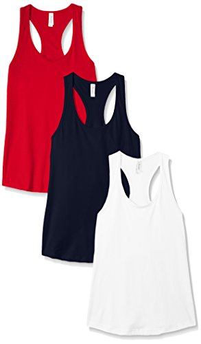 Clementine Apparel Women's Petite Plus Ideal Racerback Tank (Pack of 3), White\Red\Navy, - Racer Girl Red