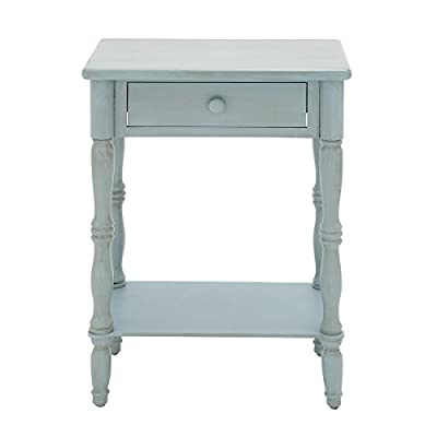 """Urban Designs Laurie Weathered Wooden Nightstand with Drawer, 31"""", Baby Blue - Hand-Applied multi-step process to achieve a weathered finish 1 storage drawer Material: wood - bedroom-furniture, nightstands, bedroom - 31ZCmP2q1TL. SS400  -"""