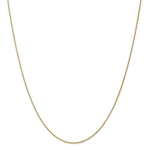 - 10k Yellow Gold 1mm Spiga Chain Necklace 30 Inch Pendant Charm Wheat Fine Jewelry For Women Gift Set