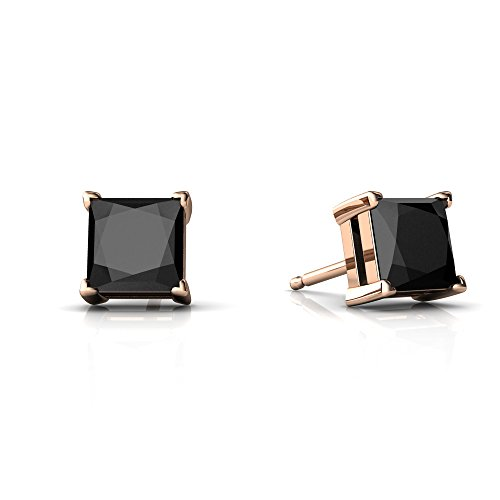 (14kt Rose Gold Black Onyx 5mm Square Princess Cut Stud Earrings)