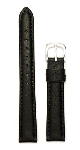 Ladies'Padded Genuine Leather Watchband Black 14mm Watchband