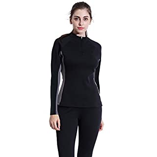 Valentina Womens Hot Thermo Body Shaper, Slimming Long Sleeve Shirt, Workout Sweat Sauna Suit, Arm & Abdominal Trainer, Stomach Fat Burner, Best SCR Bodysuit for Weight Loss, Black S - 4XL