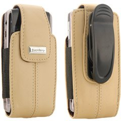 BlackBerry Blackberry Ecru Tan Leather Vertical Pouch With Belt Clip For Pearl 8100 Blackberry Pearl Belt Clip