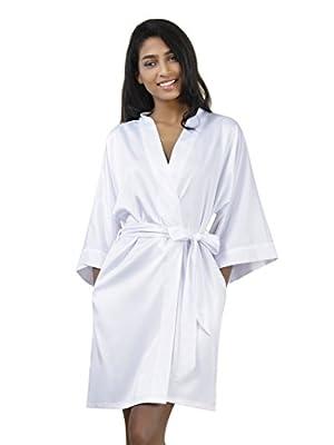 SIORO Kimono Robe Bridesmaid Satin Sleepwear V-neck Sexy Nightgowns for Women Short XS-XXL