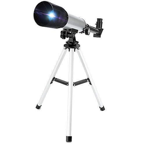 Telescope for Kids, Merkmak Educational Toy for Beginners Science Plastic Tools with Tripod and 3 Magnification Eyepieces 360/50mm Spotting Scope (Best Beginner Telescope For Kids)
