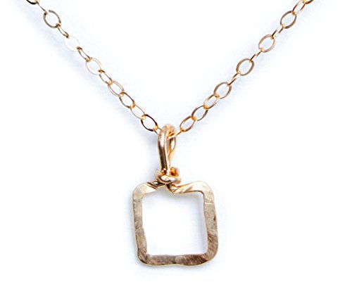 Tiny Yellow Gold Square Pendant Necklace - 14k Filled Hammered Jewelry Gift - ()