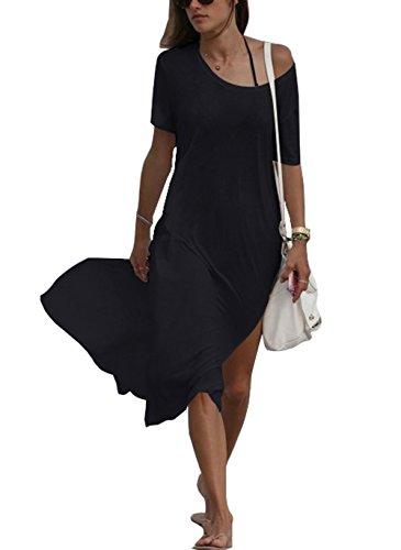ar Bikini Cover-UPS/Beach Dress/Night T-Shirt(FBA) (Free Size, Black-Salty) (Bikini Tshirt Cover)