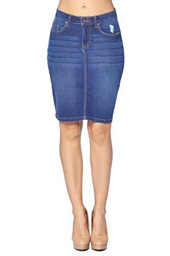 (Blue Age Women's Well Stretch Distressed Denim Skirt (SS1003_MD_M))