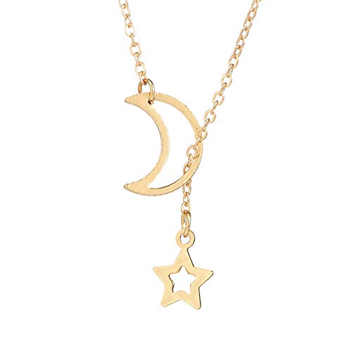 Women Lariat Necklace,Haluoo 925 Sterling Silver Moon Star Y Necklace Crescent Moon Pendant Necklace Delicate Gold Star Pendant Necklace Girls Moon Star Lariat Jewelry (Gold)