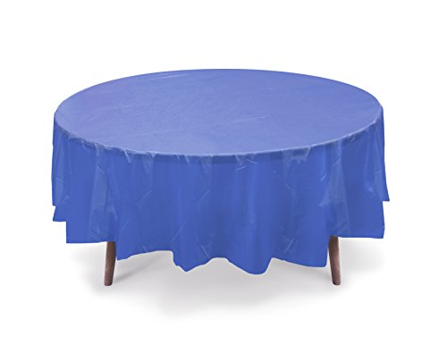"""5 PACK, 84"""" Royal Blue Round Plastic Table Cover, Plastic Table Cloth Reusable (PEVA) (Royal Blue)"""