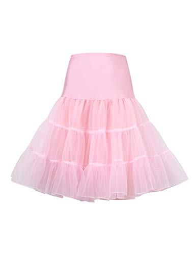 HiQueen Women's Tulle Prom Party Short Skirts Slop 50s Vintage Petticoat Pink M ()