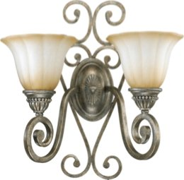 Quorum 5526-2-58 Summerset - Two Light Wall Bracket, Mystic Silver Finish with Antique Amber Scavo Glass