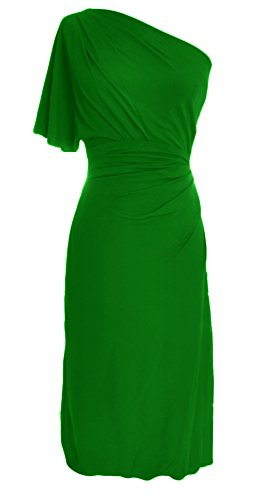 One MACloth Shoulder Gown Dress Formal Party Cocktail Green Jersey Women Wedding Short qFZwF7