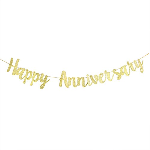 (Karoo Jan Happy Anniversary Banner Gold Glitter Wedding Anniversary Retirement Party Supplies Decoration)